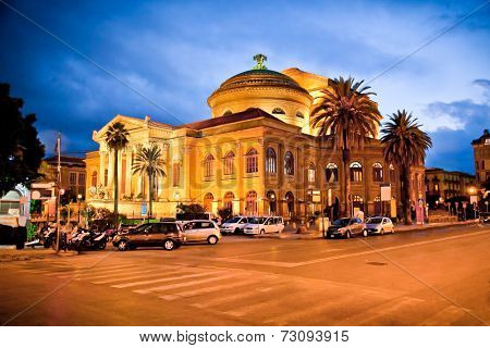 Teatro Massimo, opera house in Palermo. Sicily, Italy. Night photo.