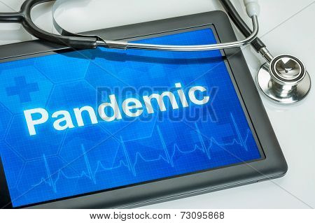 Tablet with the text Pandemic on the display