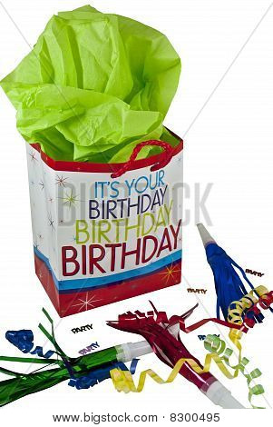 Concept picture for a party and celebration including a gift bag and party favors poster