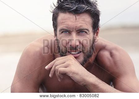 Handsome Thoughtful Athletic Man With No Shirt