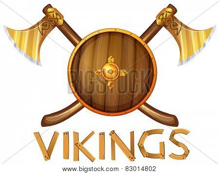 Illustration of vikings sheild and axes