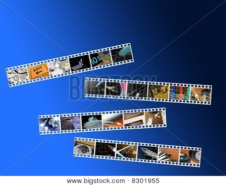 Film negatives showing business images over blue poster