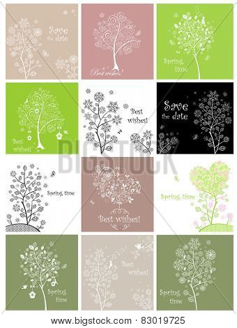 Spring cards with decorative lacy tree
