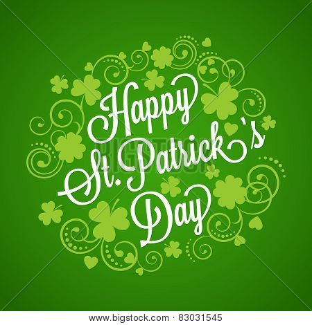 St. Patrick's card with clover and typography for your design poster