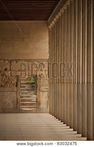 Stone Steps Beside Stoa Of Attalos Colonnade
