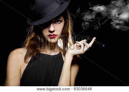 female vaping an electronic cigarette as a healthy alternative poster
