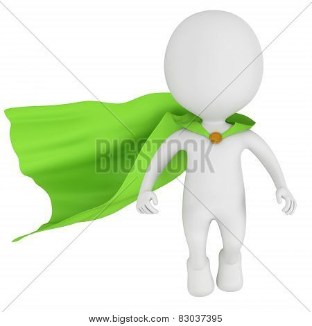 3d brave superhero with green cloak levitate above