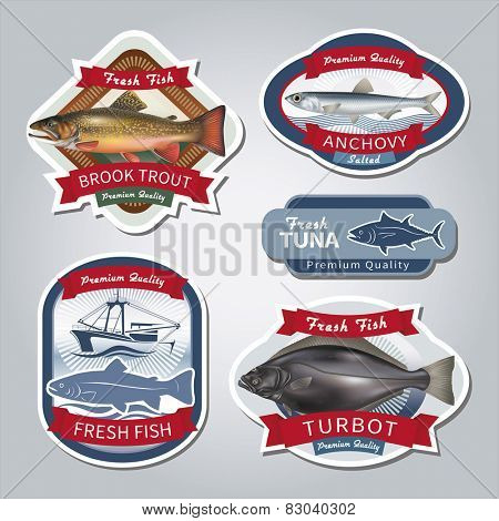 Fish labels set 5. Vector eps 10.