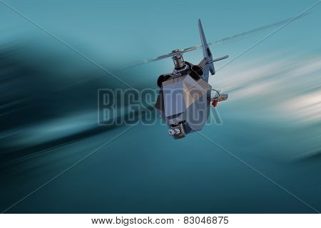 Unmanned Aerial Vehicle drone in speed  flight poster
