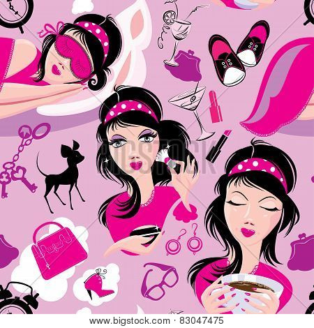 Seamless Pattern With Glamor Lovely Girls Slipping, Using Brush To Apply Make-up, Drinking Coffee. M