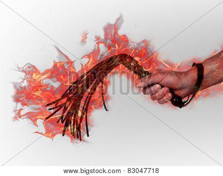 Black Leather Flogging Whip