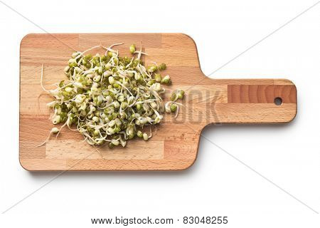 Sprouted mung beans on cutting board
