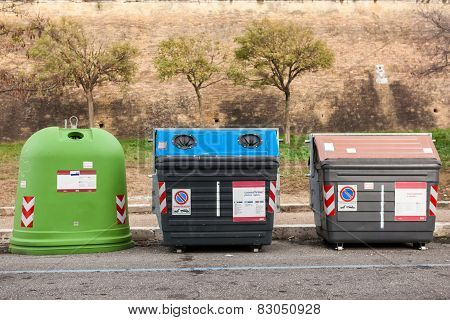 Group Of Sorted Recycling Bins.