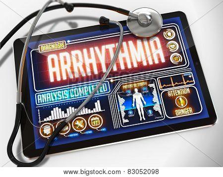 Arrhythmia on the Display of Medical Tablet.