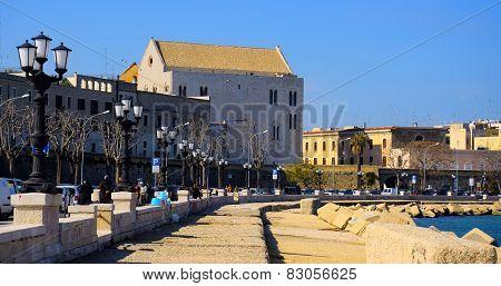 Church San Nicola rear view from the promenade of Bari