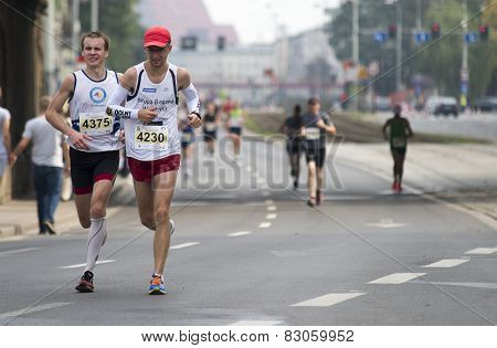 Wroclaw September 14: Group Of Runners In Wroclaw Streets Running During Wroclaw Marathon On Septemb