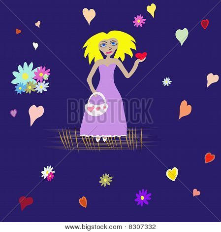 Blonde with heart on turn blue background