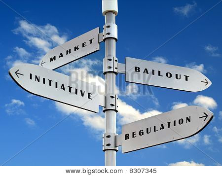 economy directions sign