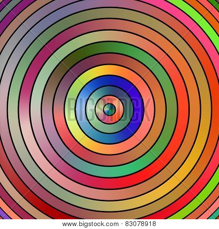 Vibrant graduated color circles on a black background.