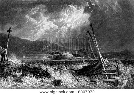 Shipwreck in storm with Dunoon town in background Cowal Peninsula Argyll Scotland. Engraved by William Miller in 1830. poster