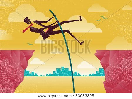 Businessman Pole Vaults From Clifftop To Safety.