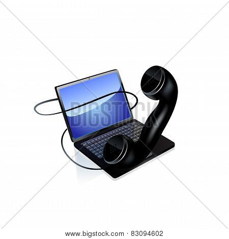 Laptop and phone icon. Vector