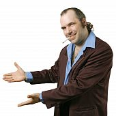 A sleazy car salesman Con man retro suit wearing man with happy smile showing you his deals. poster