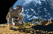 "Astronaut on his knees in front of a bush.""Elemen ts of this image furnished by NASA"" poster"