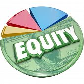 Equity word on a pie chart to illustrate stock balance investment account for amount owed or due in ownership poster