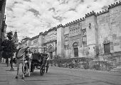 Spanish cathedral. Mezquita outdoor facade with horse drawn carriage. Cordoba. Horizontal poster