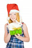 girl in santa hat with gift and rabbit isolated on white background poster