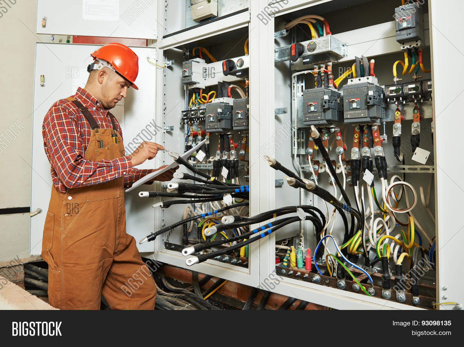 Adult Electrician Image Photo Free Trial Bigstock Wiring A Switch Board Builder Engineer Worker With Electric Scheme Plan In Front Of Fuse