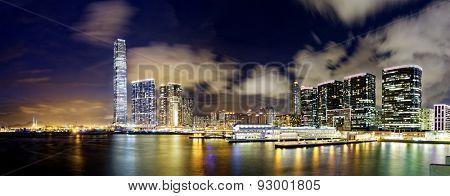 hong kong modern office buildings at night