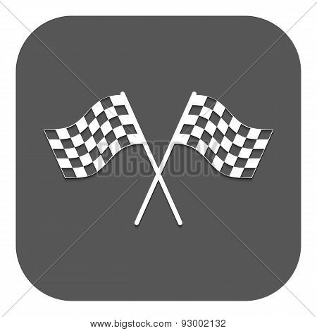 The checkered flag icon. Finish symbol. Flat Vector illustration. Button poster