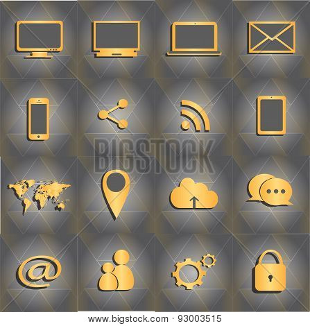 Mobile Devices Icon Set gold