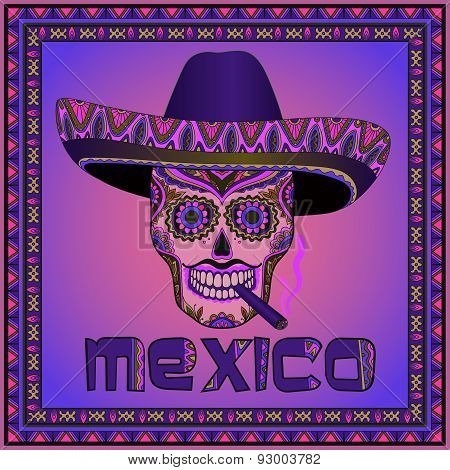Traditional mexican scull with sombrero. Vector scull in mexican hat with cigar.