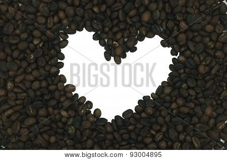 Coffee frame in heart shape isolated on white