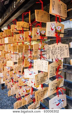 Kiyomizu-dera Temple Kyoto,, Japan - October 24, 2014: A Japanese Votive Plaque(ema) Hanging In Kiyo