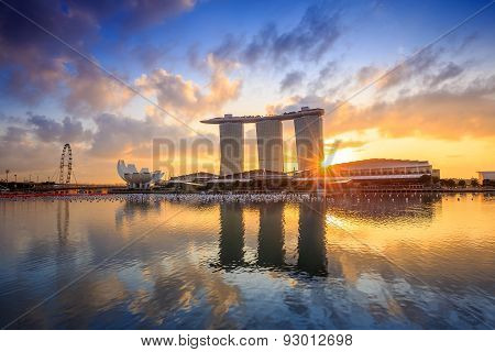 Sunrise In The Morning At Singapore Marina Bay