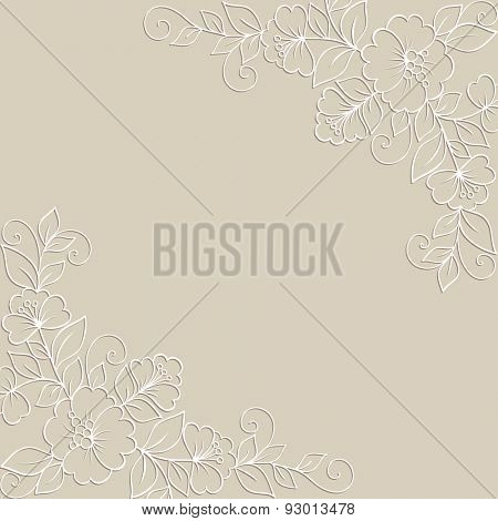 Ornamental flower background with white flowers.
