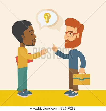 A two businessmen black and white american exchanging ideas of what project they want to put up. Business plan concept. A Contemporary style with pastel palette, soft beige tinted background. Vector