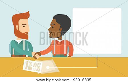 A white and black american businessmen handshaking and  having a business meeting with a contract to be sign. Business partnership concept. A contemporary style with pastel palette soft blue tinted