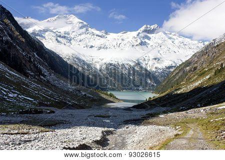 Mount Olperer Above Schlegeisspeicher Lake