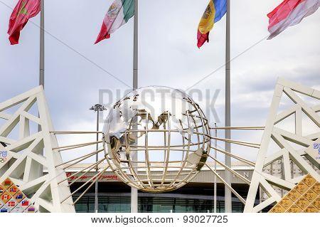 Sochi. Wall Of Champions Of Games. Globe