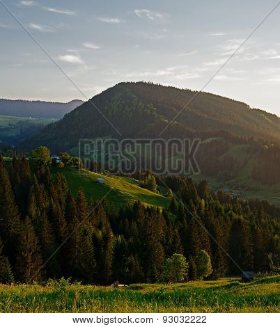Summer landscape with evening mountains Ukrainian Carpathians