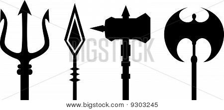 ancient weapons outline vector