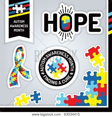 Autism Awareness Design Elements Illustration