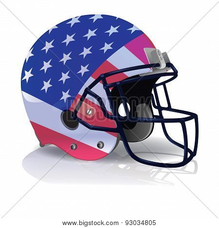American Football Helmet With American Flag Illustration