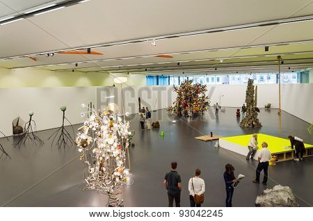 Rotterdam, Netherlands - May 9, 2015: Dutch People Visit Kunsthal Museum In Rotterdam.