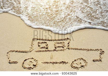 Car On Beach Near Sea